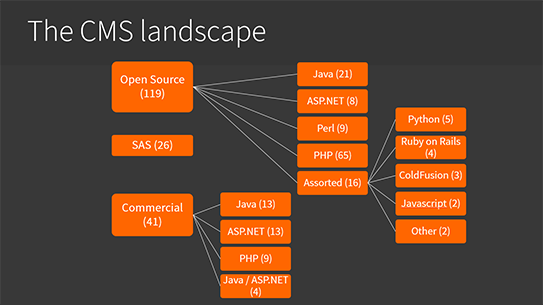 the CMS landscape, more than 200 options including Kentico