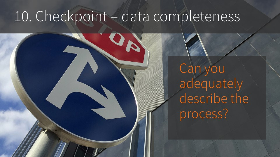 10. Checkpoint -- data completeness