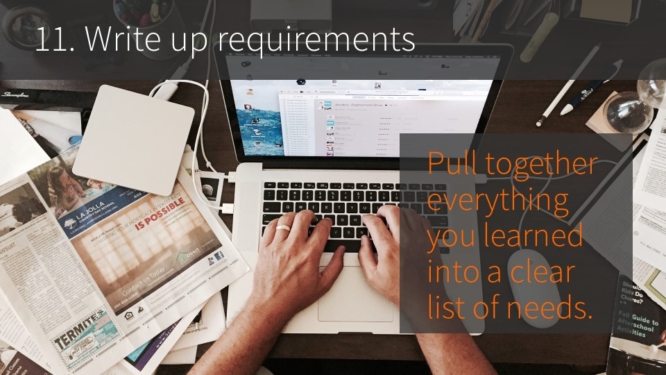 11. Write up requirements