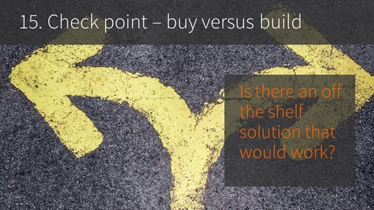 15. Checkpoint -- buy versus build